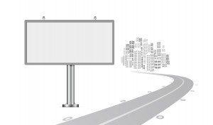 Billboard with urban horizon vector background
